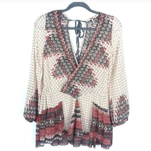 Free People Cream & Red Tribal Flowy Boho Top
